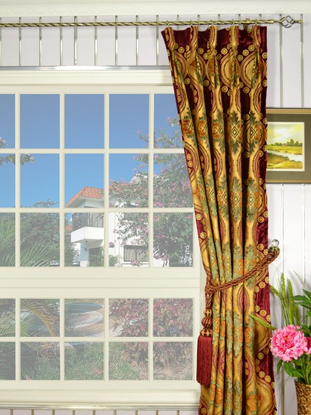 Maia Vintage Damask Goblet Pleat Velvet Curtains