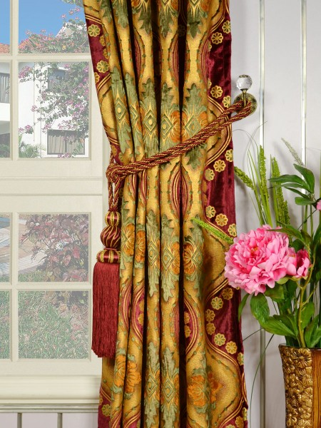 Maia Vintage Damask Goblet Pleat Velvet Curtains Tassel Tiebacks