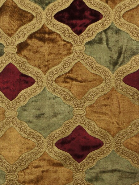 Maia Geometrical Double Pinch Pleat Velvet Curtains (Color: Sienna)