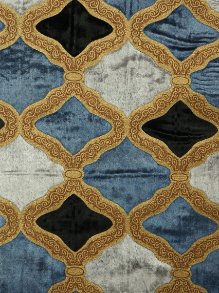 Maia Geometrical Double Pinch Pleat Velvet Curtains (Color: French blue)