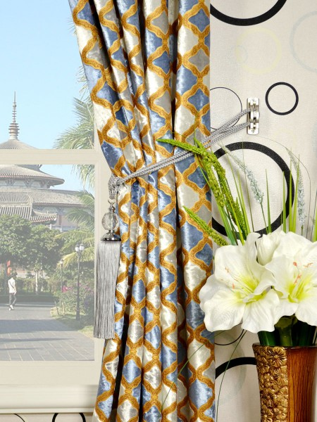 Maia Geometrical Double Pinch Pleat Velvet Curtains Tassel Tiebacks