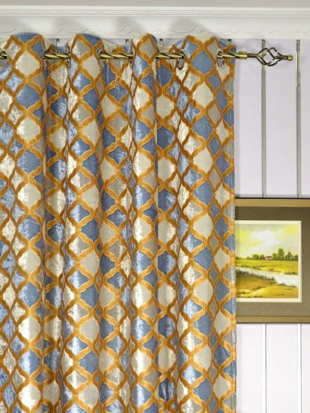Maia Geometrical Grommet Velvet Curtains Heading Style