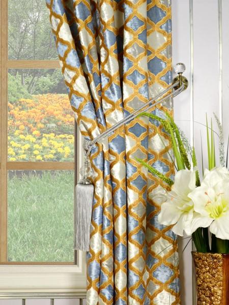 Maia Geometrical Grommet Velvet Curtains Tassel Tiebacks