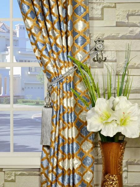 Maia Geometrical Back Tab Velvet Curtains Tassel Tiebacks