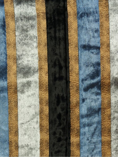 Maia Luxurious Stripe Velvet Fabric Sample (Color: Black )