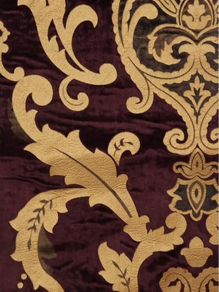 Maia Classic Damask Velvet Custom Made Curtains (Color: Byzantium)