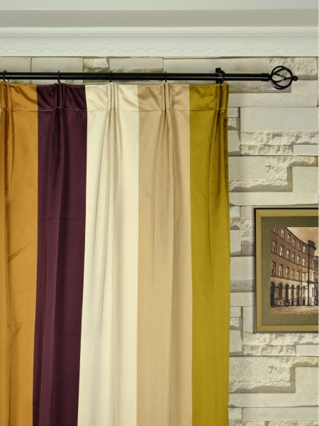 Silver Beach Bold Stripe Faux Silk Custom Made Curtains (Heading: Versatile Pleat)