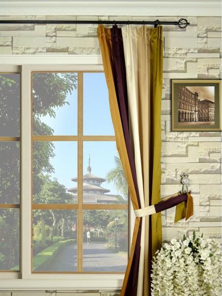 Silver Beach Bold Stripe Versatile Pleat Faux Silk Curtains