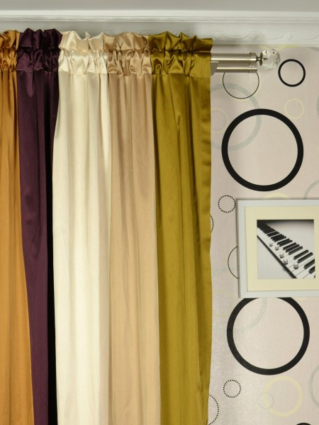 Silver Beach Bold Stripe Faux Silk Custom Made Curtains (Heading: Rod Pocket)