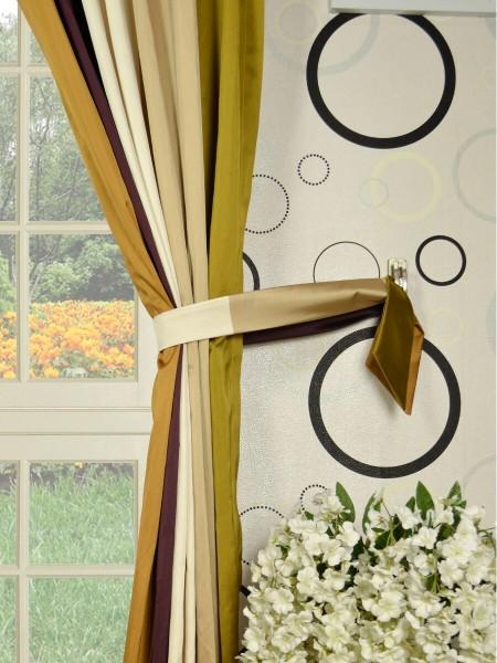 Silver Beach Bold Stripe Rod Pocket Faux Silk Curtains Decorative Tiebacks