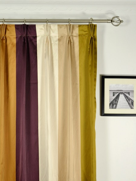 Silver Beach Bold Stripe Faux Silk Custom Made Curtains (Heading: Triple Pinch Pleat)