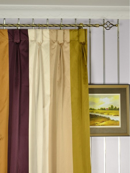 Silver Beach Bold Stripe Faux Silk Custom Made Curtains (Heading: Goblet Pleat)