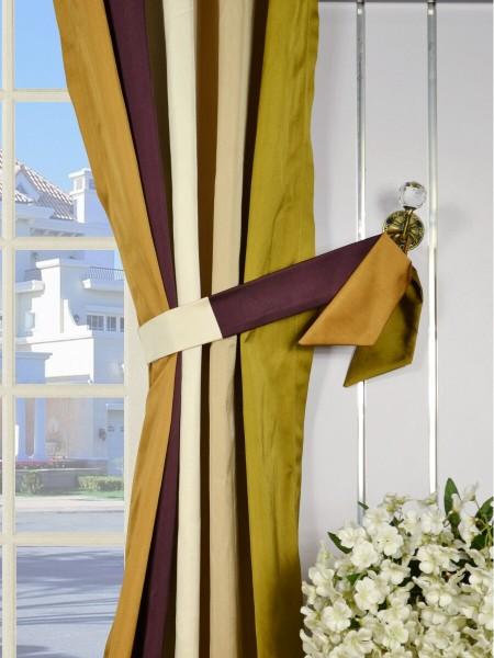 Silver Beach Bold Stripe Goblet Faux Silk Curtains Decorative Tiebacks