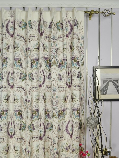 Silver Beach Embroidered All-over Flowers Faux Silk Custom Made Curtains (Heading: Back Tab)