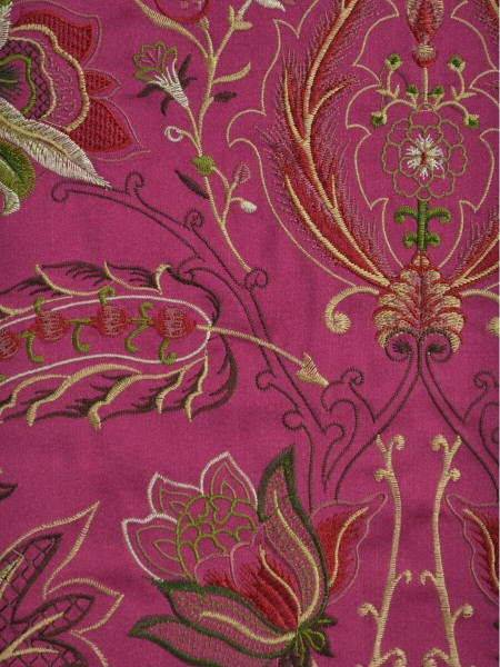 Silver Beach Embroidered All-over Flowers Faux Silk Custom Made Curtains (Color: Deep cerise)