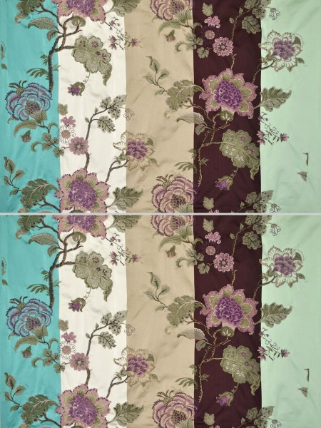 Silver Beach Embroidered Full Blossom Faux Silk Fabric Sample (Color: Maroon)