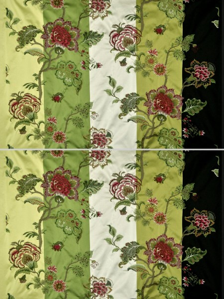 Silver Beach Embroidered Full Blossom Faux Silk Fabric Sample (Color: Pear)