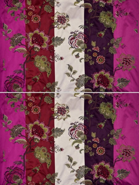 Silver Beach Embroidered Full Blossom Faux Silk Fabric Sample (Color: Eggshell)