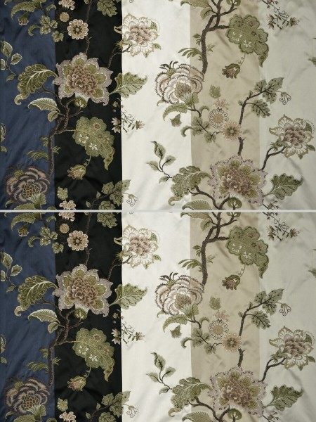 Silver Beach Embroidered Full Blossom Faux Silk Custom Made Curtains (Color: Ecru)