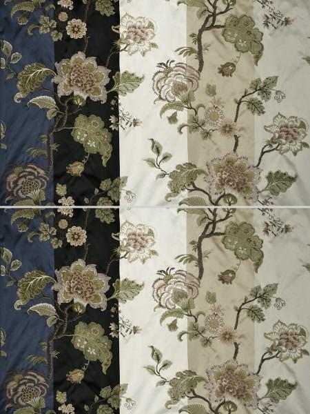 Silver Beach Embroidered Full Blossom Faux Silk Fabric Sample (Color: Ecru)