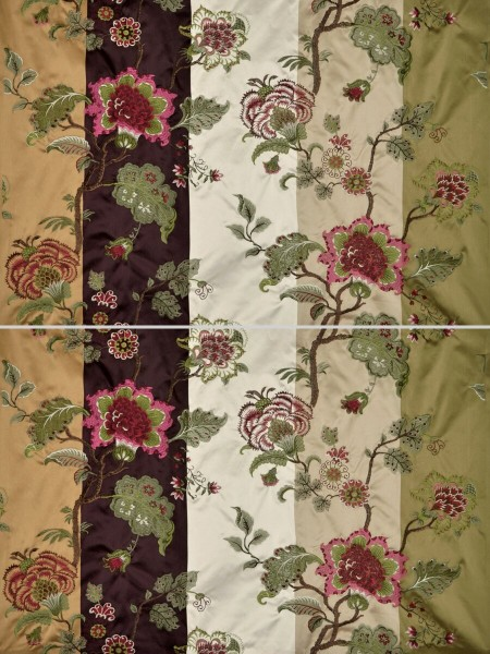 Silver Beach Embroidered Full Blossom Faux Silk Fabric Sample (Color: Fallow)