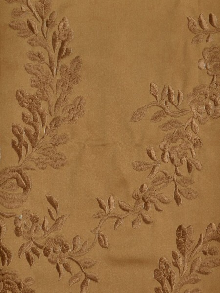 Silver Beach Embroidered Plush Vines Versatile Pleat Faux Silk Curtains (Color: Copper)