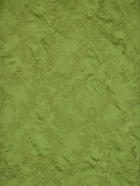 Silver Beach Embroidered Plush Vines Versatile Pleat Faux Silk Curtains (Color: Apple green)