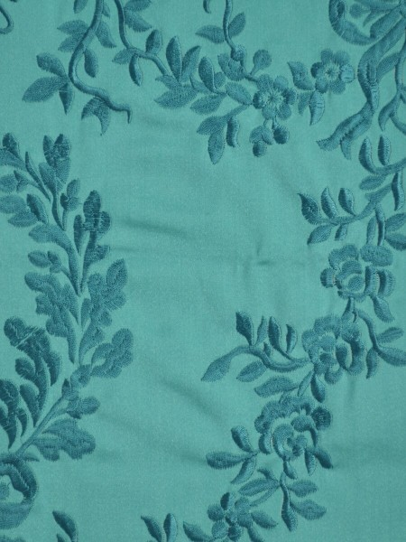 Silver Beach Embroidered Plush Vines Versatile Pleat Faux Silk Curtains (Color: Medium turquoise)