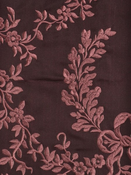 Silver Beach Embroidered Plush Vines Versatile Pleat Faux Silk Curtains (Color: Maroon)