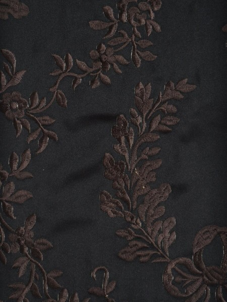 Silver Beach Embroidered Plush Vines Faux Silk Fabric Sample (Color: Dark brown)