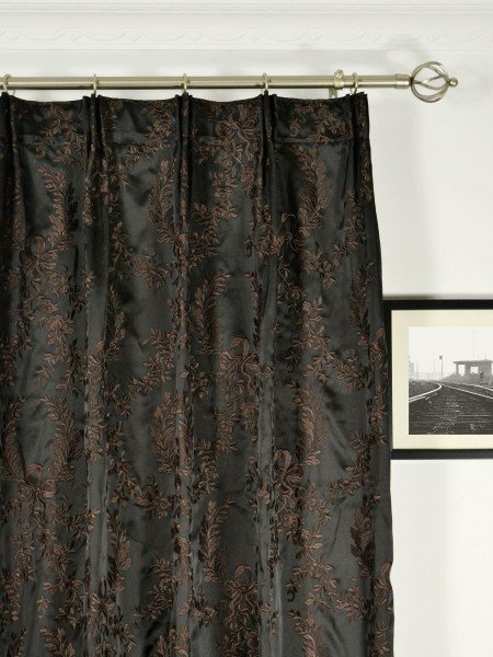 Silver Beach Embroidered Plush Vines Versatile Pleat Faux Silk Curtains Heading Style