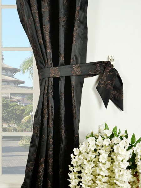 Silver Beach Embroidered Plush Vines Versatile Pleat Faux Silk Curtains Decorative Tiebacks