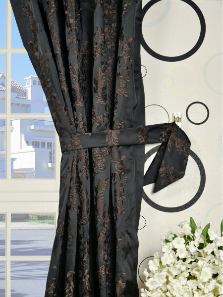 Silver Beach Embroidered Plush Vines Double Pinch Pleat Faux Silk Curtains Decorative Tiebacks