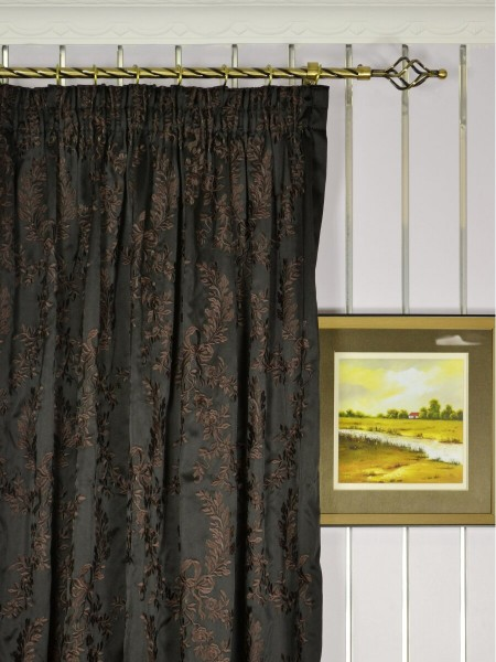 Silver Beach Embroidered Plush Vines Pencil Pleat Faux Silk Curtains Heading Style