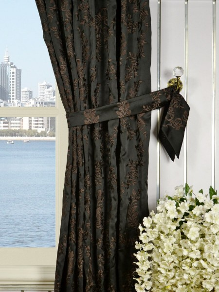 Silver Beach Embroidered Plush Vines Pencil Pleat Faux Silk Curtains Decorative Tiebacks