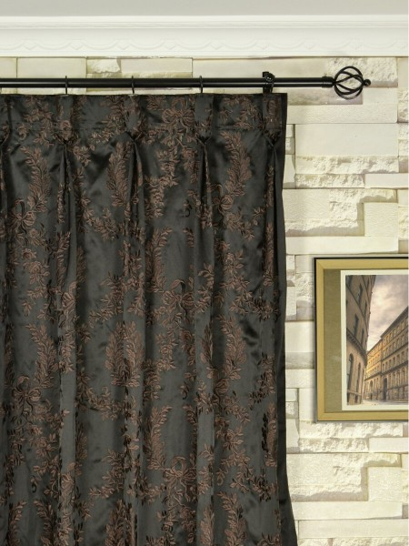 Silver Beach Embroidered Plush Vines Faux Silk Custom Made Curtains (Heading: Goblet Pleat)