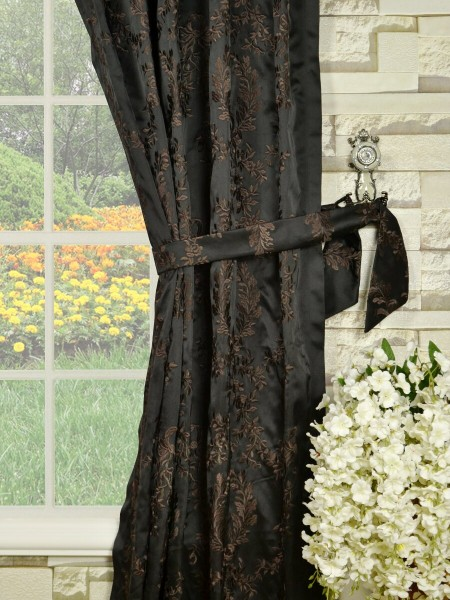 Silver Beach Embroidered Plush Vines Goblet Faux Silk Curtains Decorative Tiebacks
