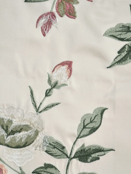 Silver Beach Embroidered Cheerful Faux Silk Fabric Sample (Color: Cream)