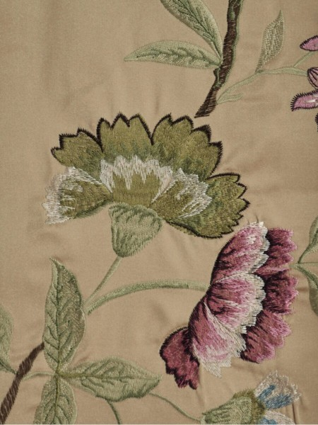 Silver Beach Embroidered Cheerful Faux Silk Fabric Sample (Color: Wheat)
