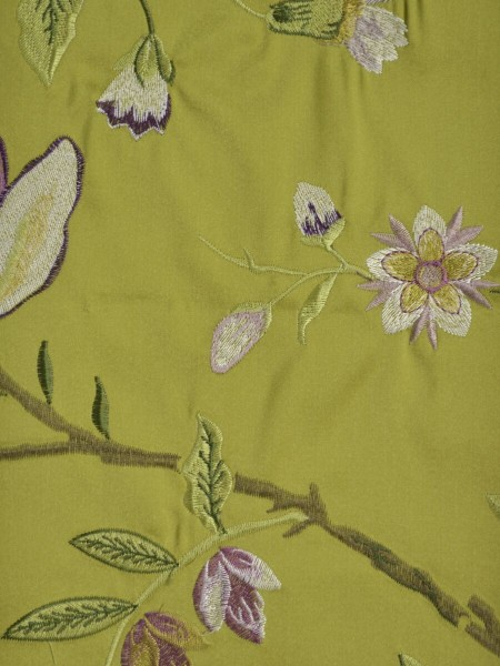 Silver Beach Embroidered Cheerful Faux Silk Fabric Sample (Color: Pear)