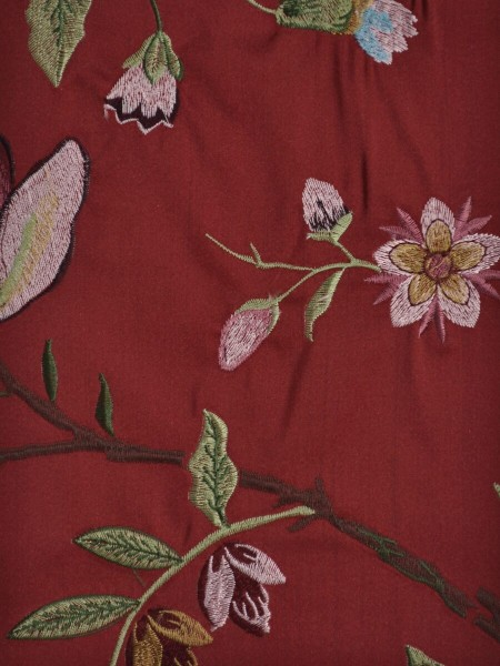 Silver Beach Embroidered Cheerful Faux Silk Fabric Sample (Color: Crimson)