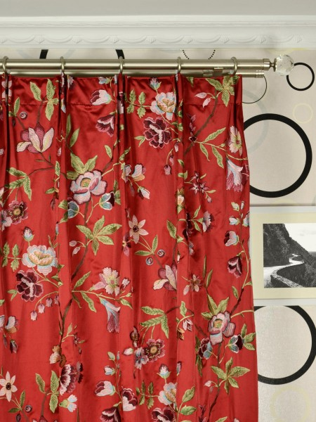 Silver Beach Embroidered Cheerful Faux Silk Custom Made Curtains (Heading: Versatile Pleat)