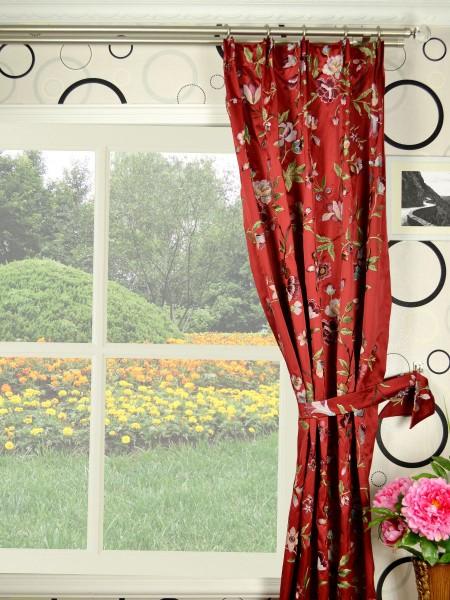 Silver Beach Embroidered Cheerful Versatile Pleat Faux Silk Curtains