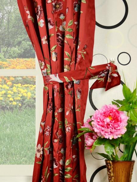 Silver Beach Embroidered Cheerful Versatile Pleat Faux Silk Curtains Decorative Tiebacks