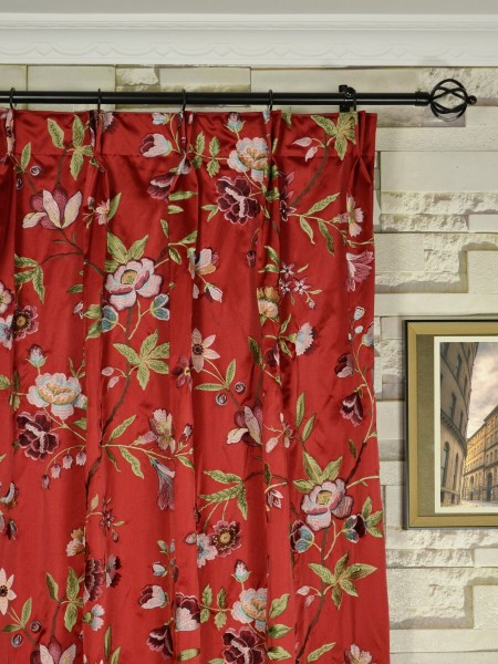 Silver Beach Embroidered Cheerful Faux Silk Custom Made Curtains (Heading: Double Pinch Pleat)