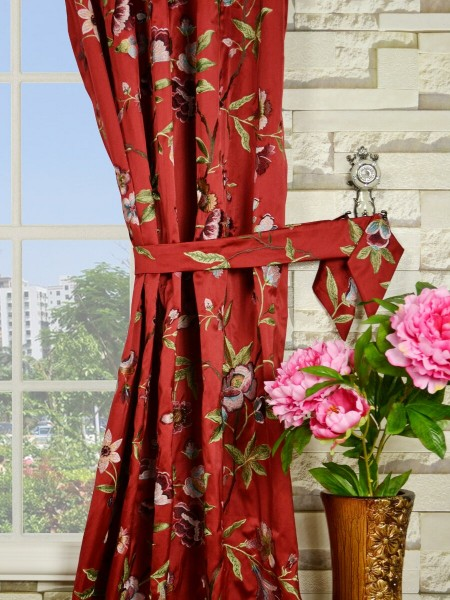 Silver Beach Embroidered Cheerful Double Pinch Pleat Faux Silk Curtains Decorative Tiebacks