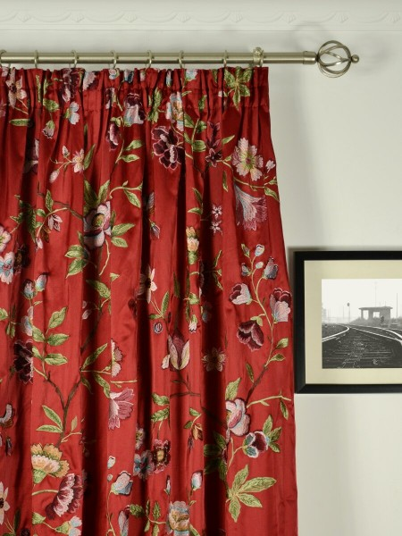 Silver Beach Embroidered Cheerful Faux Silk Custom Made Curtains (Heading: Pencil Pleat)