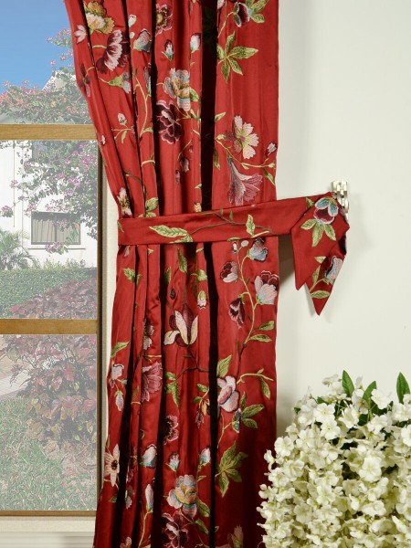 Silver Beach Embroidered Cheerful Pencil Pleat Faux Silk Curtains Decorative Tiebacks