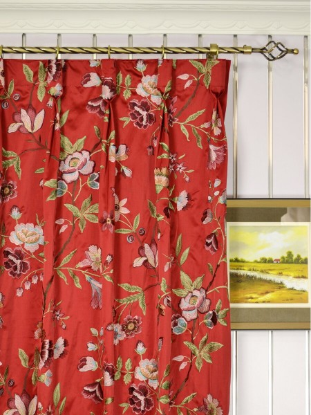 Silver Beach Embroidered Cheerful Faux Silk Custom Made Curtains (Heading: Goblet Pleat)