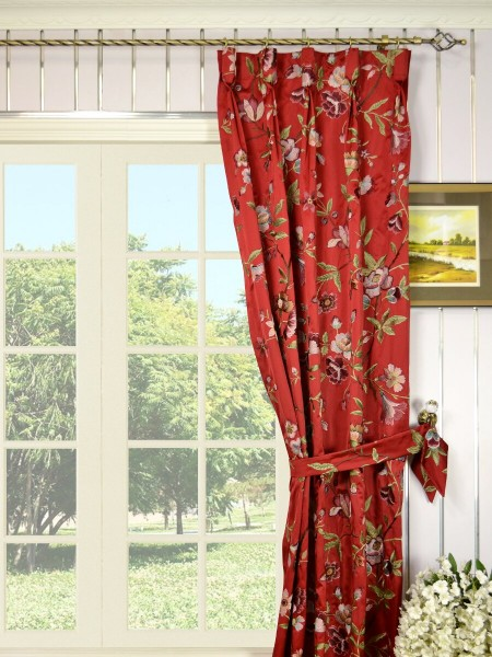 Silver Beach Embroidered Cheerful Goblet Faux Silk Curtains